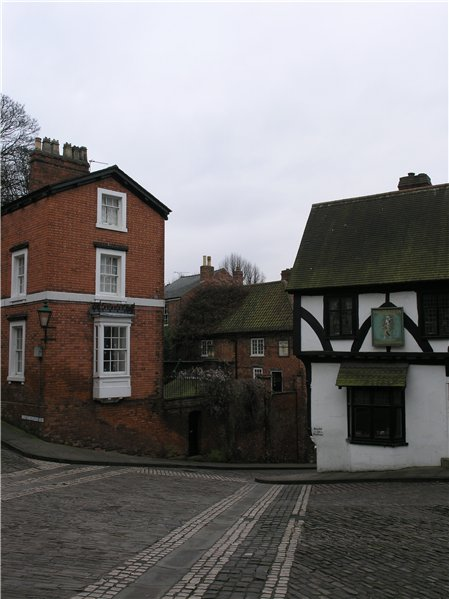Intersection of Christ's Hospital Terrace, Steep Hill and Michaelgate, which forms one of a series of nodes up Steep Hill.