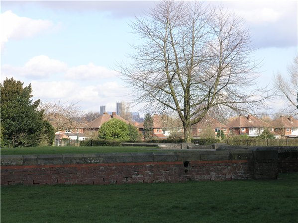 View of Cathedral from Boultham Park with houses and trees near the foreground.