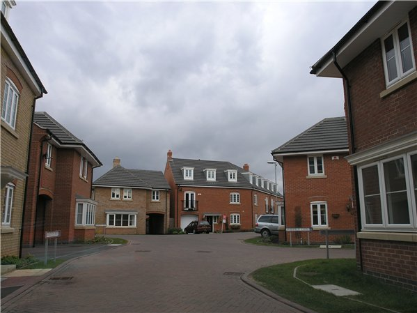 Modern two and three storey buildings around Carnoustie Drive and Muirfield Drive