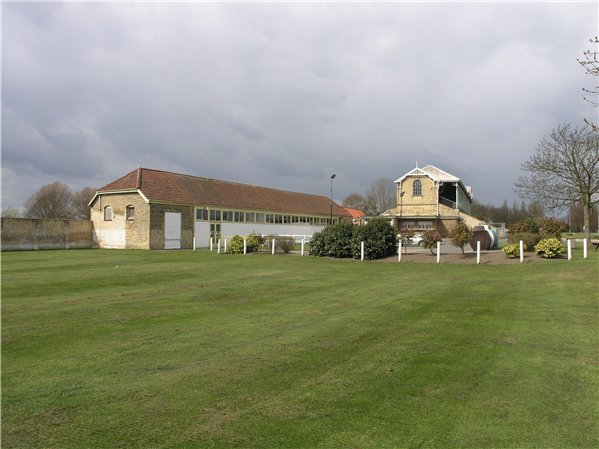 East elevation of Lincoln racecourse grandstand and associated stable block