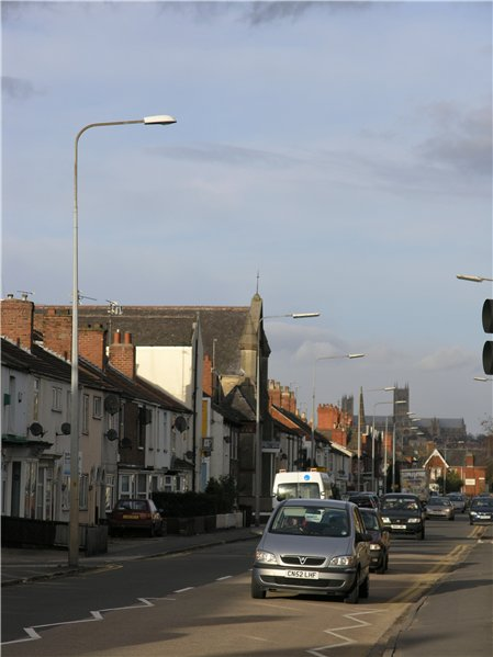 View north along Newark Road terminated by the elevated Lincoln Cathedral above rooftops