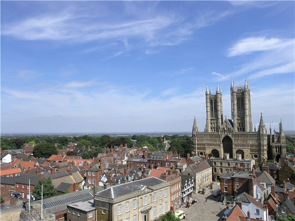 Short and distant views east from the Observatory Tower of Lincoln Castle toward the Cathedral and surrounding area.