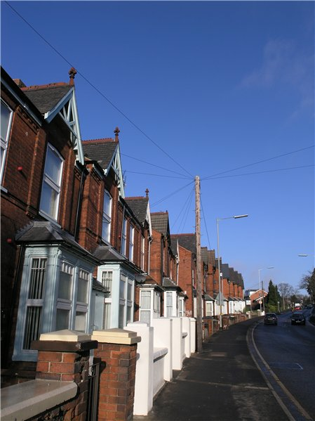 Strong building line of north facing terraced properties up Yarborough Road