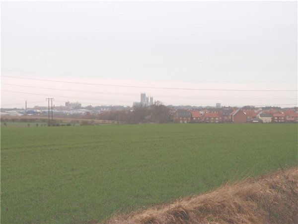 Long-ranging views over agricultural land to the cathedral