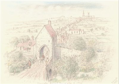 View of Great Bargate where High street crossed Sincil Dyke in c.1730