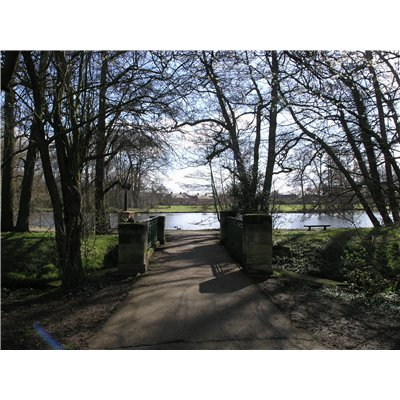 Footpath and trees in foreground leading to view across lake at Boultham Park with house in the background.