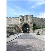 East gate of Lincoln Castle showing cobbled area in front.