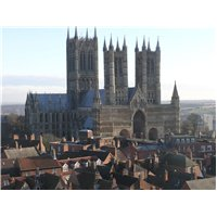 View of the west façade of Lincoln Cathedral taken from the castle walls